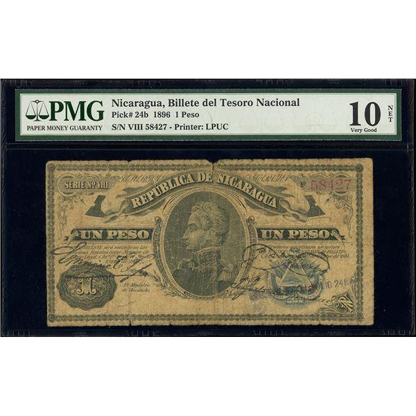 Nicaragua, Billete del Tesoro Nacional, 1 peso, 1896, series VIII, serial 58427, PMG VG 10 net / spl