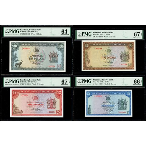 Denomination set of four Salisbury, Rhodesia, Reserve Bank dollars with matching low serial 000056: