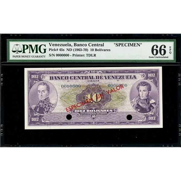 Caracas, Venezuela, Banco Central, 10 bolivares specimen, no date (1963-70), PMG Gem UNC 66 EPQ, fin