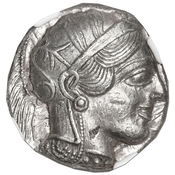 """Attica, Athens, AR tetradrachm """"owl,"""" ca. 440-404 BC, NGC Choice AU, strike 5/5, surface 4/5."""