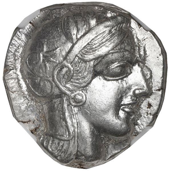 """Attica, Athens, AR tetradrachm """"owl,"""" ca. 440-404 BC, NGC Choice AU, strike 4/5, surface 4/5."""