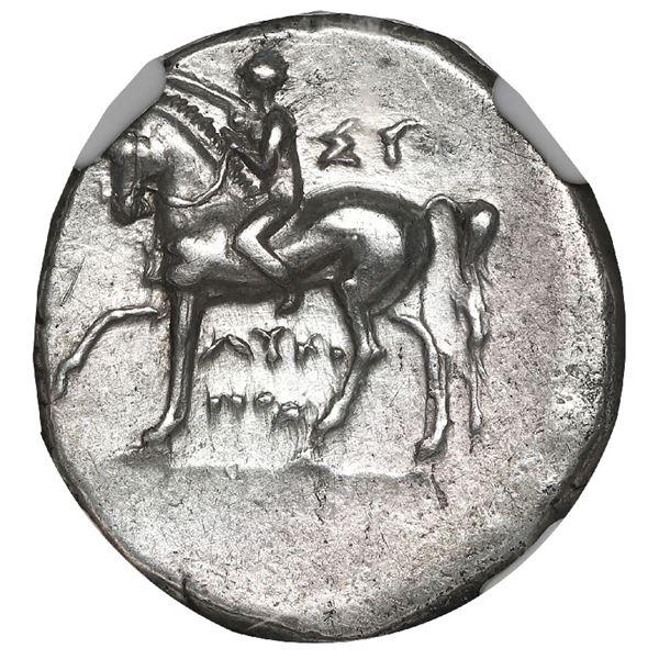 """Calabria, Tarentum, AR didrachm, 281-240 BC, """"boy on dolphin,"""" NGC Ch XF, strike 4/5, surface 3/5."""