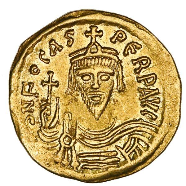 Byzantine Empire, AV solidus, Phocas, 602-610 AD, Constantinople mint, NGC AU, strike 5/5, surface 2