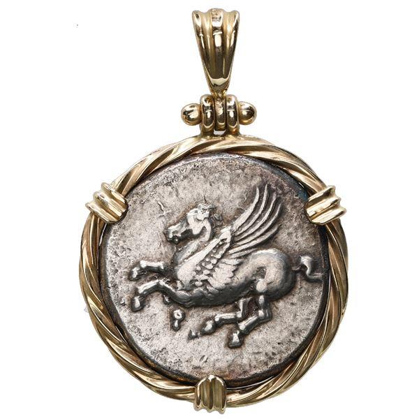 """Corinth, Corinthia, AR stater, ca. 345-307 BC, """"pegasus,"""" mounted pegasus-side out in 14K gold twist"""