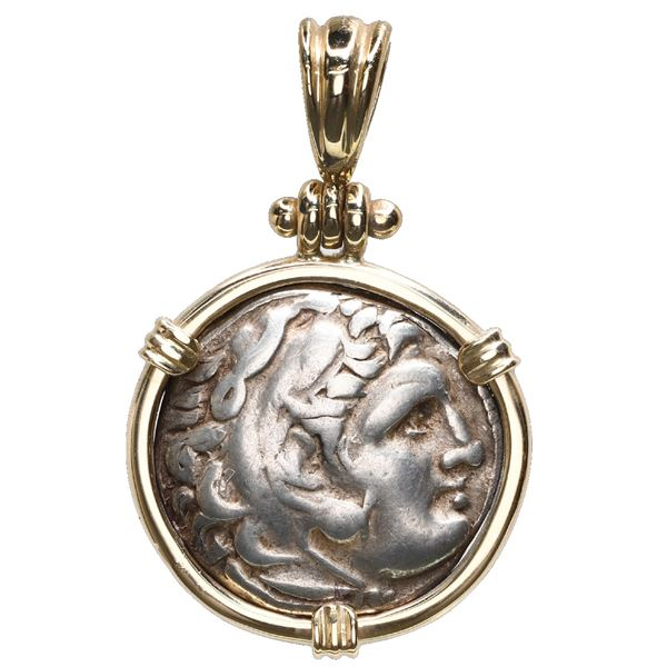 Kingdom of Macedon, AR drachm, Alexander III (the Great), 336-323 BC, mounted head-side out in 14K g