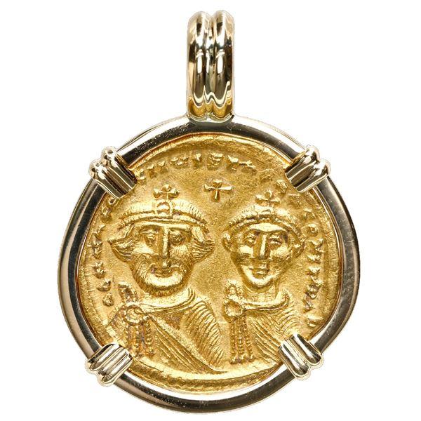 Byzantine Empire, AV solidus, Heraclius, (610-641 AD), Constantinople mint, mounted in 18K gold beze