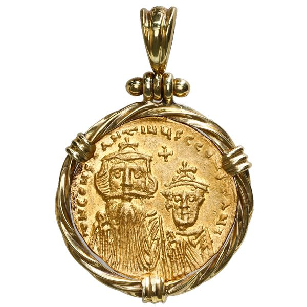 Byzantine Empire, AV solidus, Constans II (641-668 AD), mounted in 18K gold twisted-wire bezel with