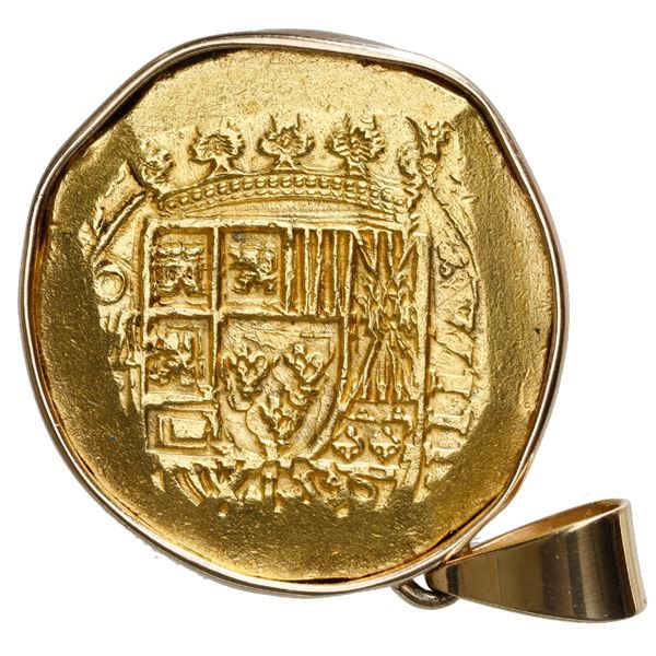 Mexico City, Mexico, cob 8 escudos, (171)5J, ex-1715 Fleet, mounted cross-side out in 18K gold bezel