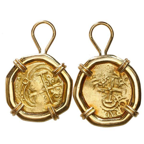 Pair of Bogota, Colombia, cob 2 escudos, posthumous Charles II, no assayer (Arce), ex-1715 Fleet, mo