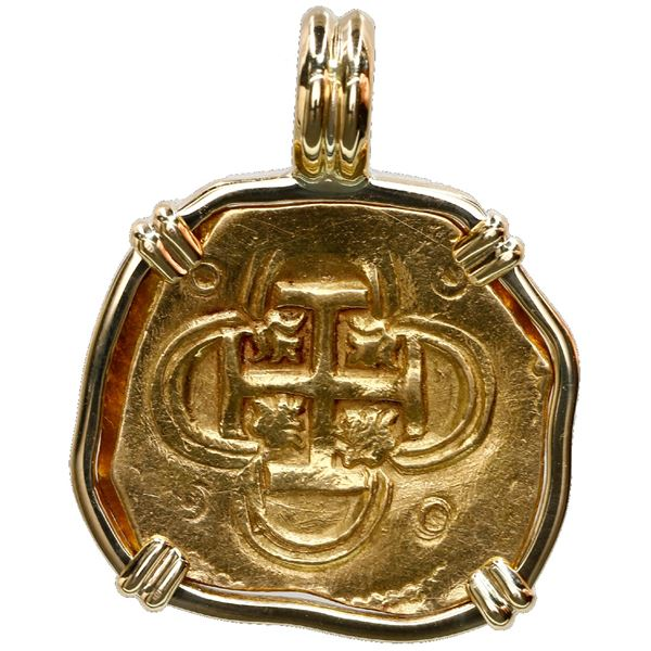 Seville, Spain, cob 2 escudos, Philip II or III, assayer B, mounted cross-side out in 18K gold bezel