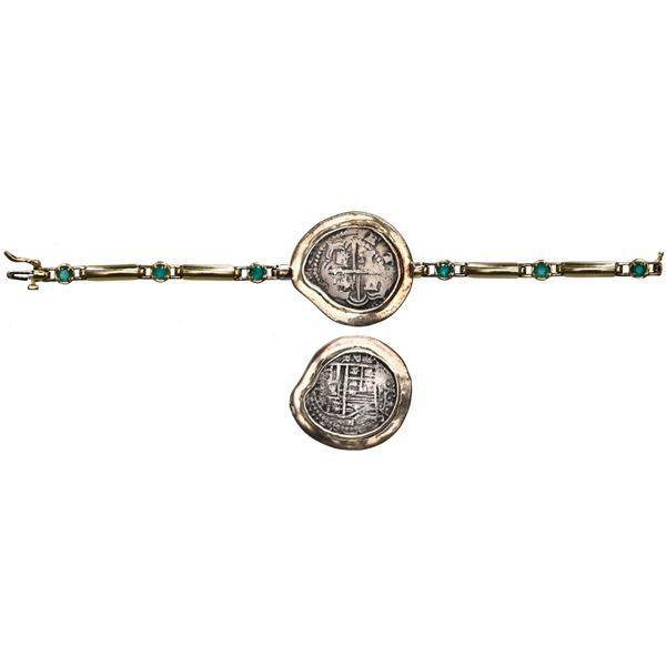 Potosi, Bolivia, cob 2 reales, Philip III, assayer R, Grade 1, ex-Atocha (1622), mounted cross-side