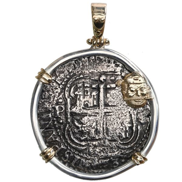 Potosi, Bolivia, cob 8 reales, 1653E, dot-PH-dot, ex-Capitana (1654), mounted cross-side out in thic
