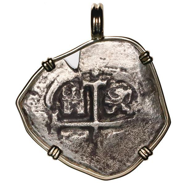 Potosi, Bolivia, cob 4 reales, Charles II, date and assayer not visible, ex-Consolacion (1681), moun