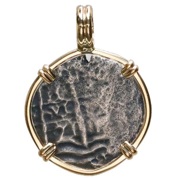 Potosi, Bolivia, cob 1 real, 1671E, ex-Consolacion (1681), mounted cross-side out in 14K gold bezel