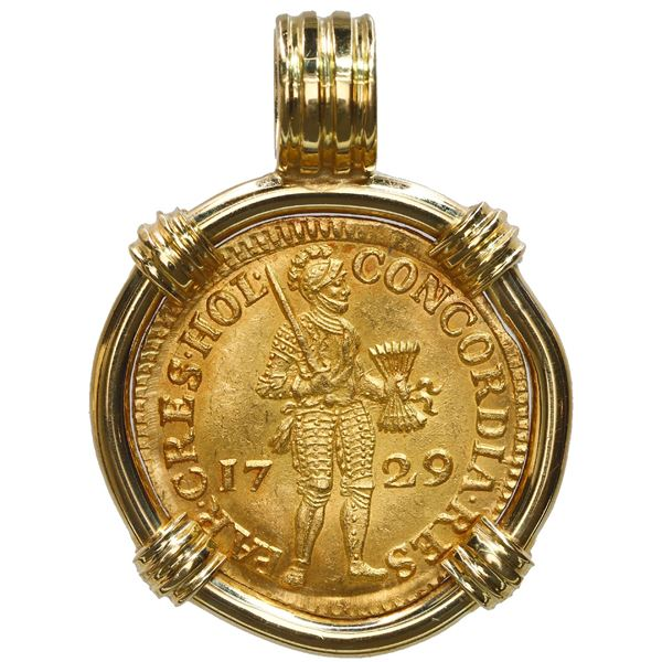 Holland, United Netherlands, gold ducat, 1729, ex-Vliegenthart (1735), mounted knight side out in 18