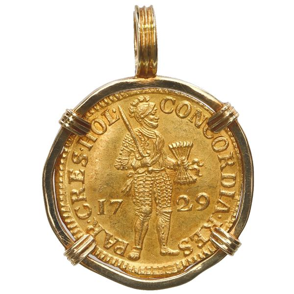 Holland, United Netherlands, gold ducat, 1729, ex-Vliegenthart (1735), mounted knight-side out in 18