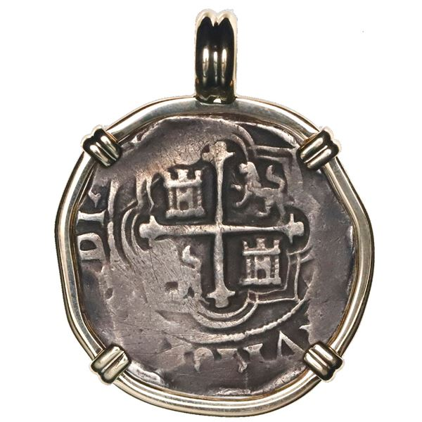 Mexico City, Mexico, cob 2 reales, Philip III, assayer F (pre-1607), mounted cross-side out in 14K g