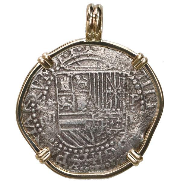 Lima, Peru, cob 2 reales, Philip II, assayer Diego de la Torre, *-ii to left, P-oD to right, mounted