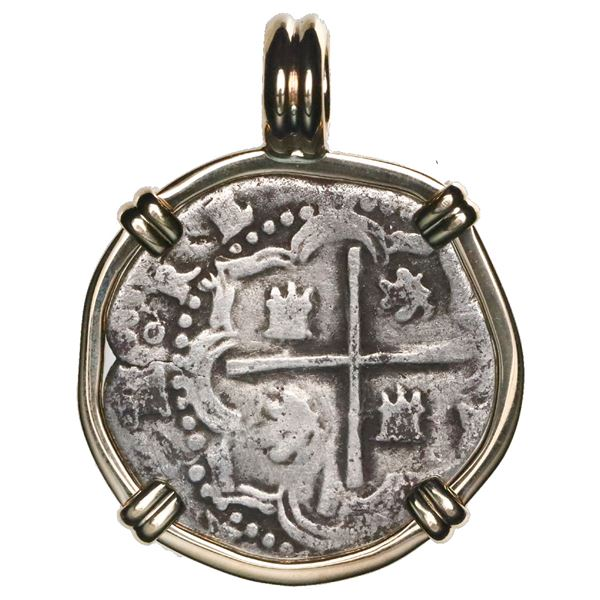 Potosi, Bolivia, cob 1 real, Philip II, assayer B (3rd period), mounted cross-side out in 14K gold b