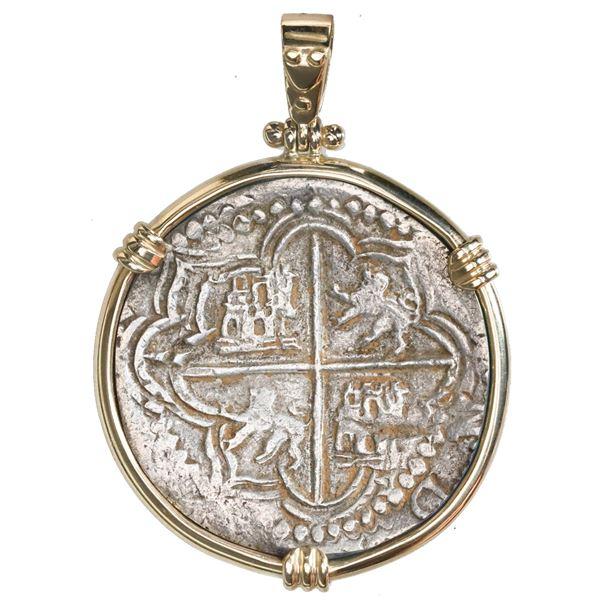 Potosi, Bolivia, cob 8 reales, Philip II, assayer B (5th period), ex-Panama hoard (ca. 1629) mounted