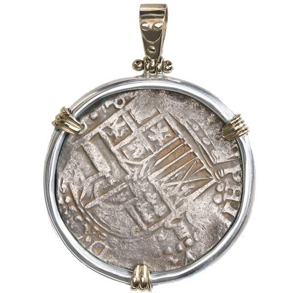 Potosi, Bolivia, cob 8 reales, Philip IV, assayer P (1620s), quadrants of cross transposed, ex-Panam