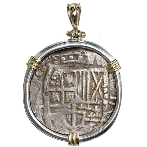 Potosi, Bolivia, cob 8 reales, Philip IV, assayer T (1620s), ex-Panama hoard (ca. 1629), mounted cro