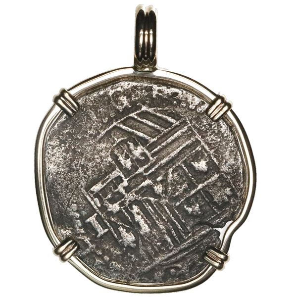 Potosi, Bolivia, cob 1 real, Philip II, assayer not visible, mounted cross-side out in 14K gold beze