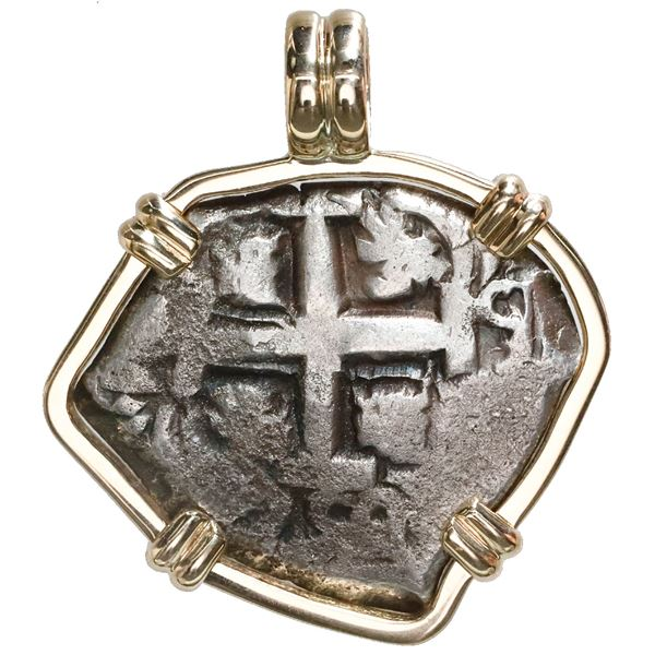 Potosi, Bolivia, cob 4 reales, 1752(q or C), mounted cross-side out in 14K gold bezel with fixed bai