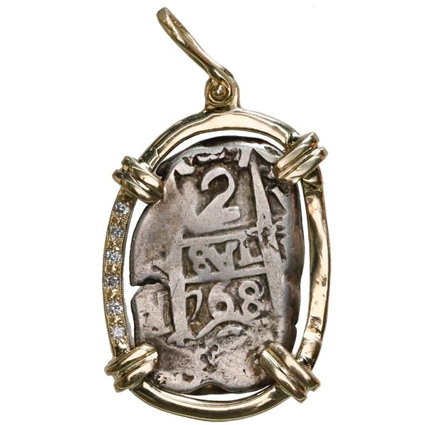 Potosi, Bolivia, cob 2 reales, 1768V-Y, mounted pillars-side out in 14K gold bezel with six diamonds