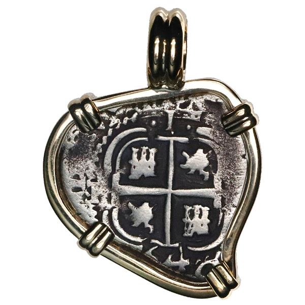 Potosi, Bolivia, cob 1 real, 1664E, mounted cross-side out in 14K gold bezel with fixed bail.
