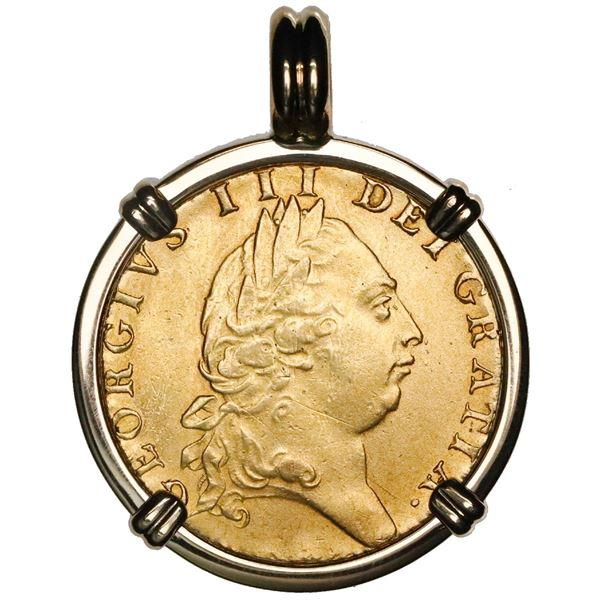 Great Britain (London, England), gold guinea, George III, 1791, mounted in 14K gold bezel with fixed