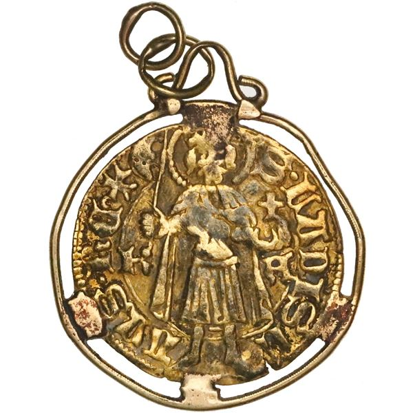 Hungary (Kremnitz Mint), gold gulden, no date (1467-69), Matthias Corvinus, mounted saint-side out i