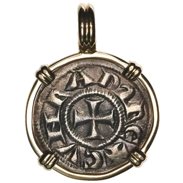 """Genoa (Italian States), AR denaro, """"crusader coin,"""" 1139-1339 AD, mounted cross-side out in 14K gold"""