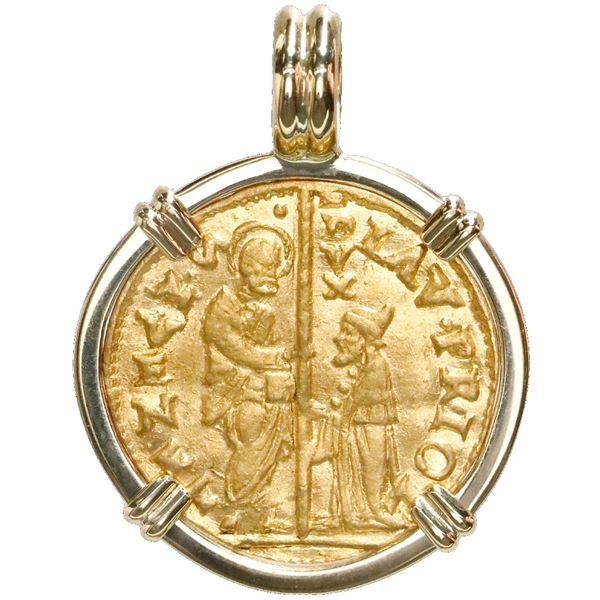 Venice (Italian States), gold zecchino, Lorenzo Priuli (1556-59), mounted St. Mark-side out in 18K g