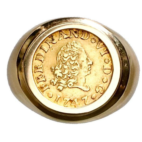 Madrid, Spain, gold bust 1/2 escudo, Ferdinand VI, 1747JB, mounted bust-side out in 14K gold ring (s