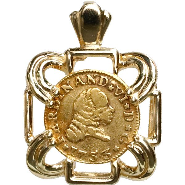 Seville, Spain, gold bust 1/2 escudo, Ferdinand VI, 1753PJ, mounted bust-side out in square, open ca