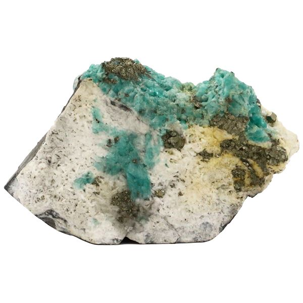 Large natural Colombian emerald in stone matrix with bits of pyrite sprinkled throughout over calcit