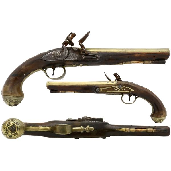 English naval flintlock pistol with dogface butt, late 1700s.