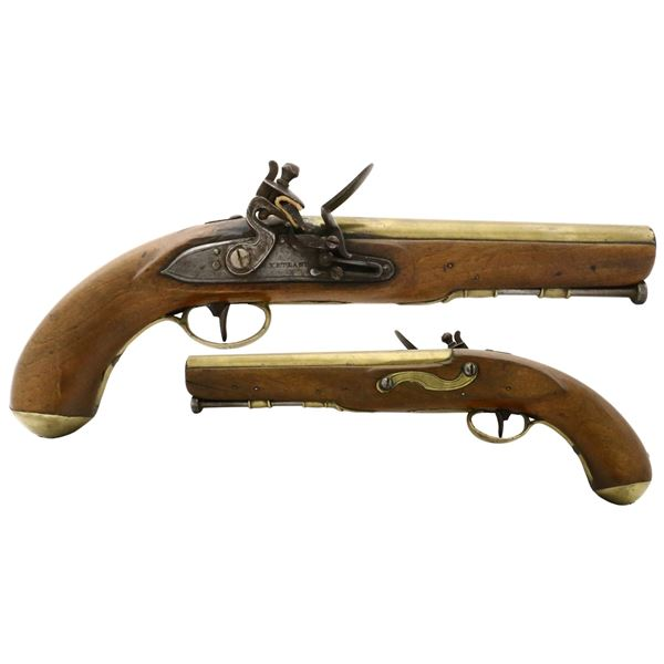 British naval officer's flintlock pistol, early 1800s, with round brass barrel marked LONDON, KETLAN
