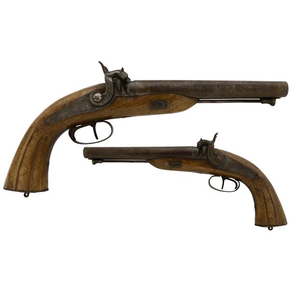 Double-barrel side-by-side percussion pistol, probably British, ca. 1820s-1850s.