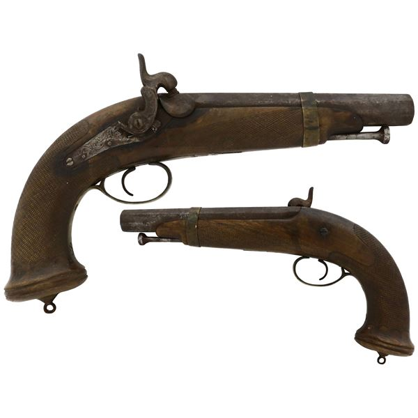 Percussion pistol with octagonal barrel, probably British, ca. 1820s-1850s.