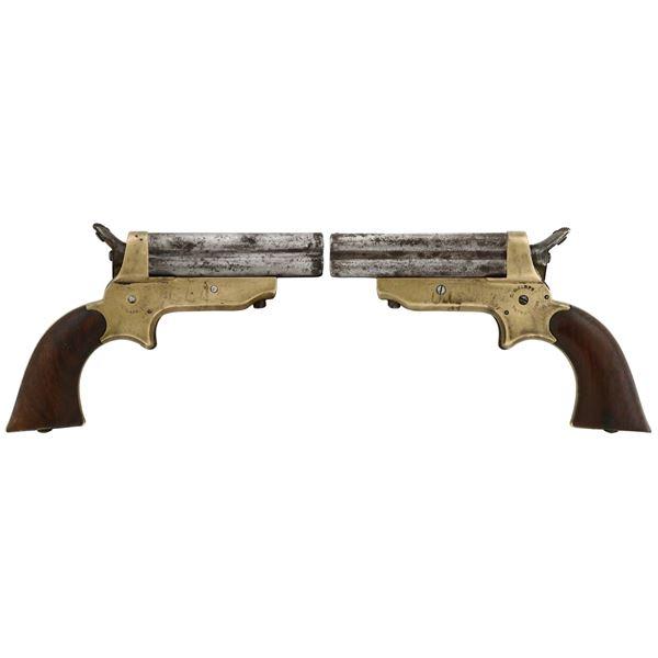 American C. Sharps & Co. four-barrel rimfire pepperbox derringer pistol, .22 caliber, patent 1859.