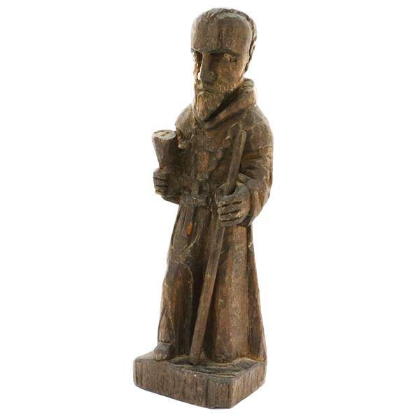 Wooden Spanish colonial figure of Saint Anthony of Padua, 1700s-1800s.