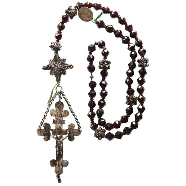 European rosary consisting of amethyst and silver beads, German silver cross and coin dated 1830, in