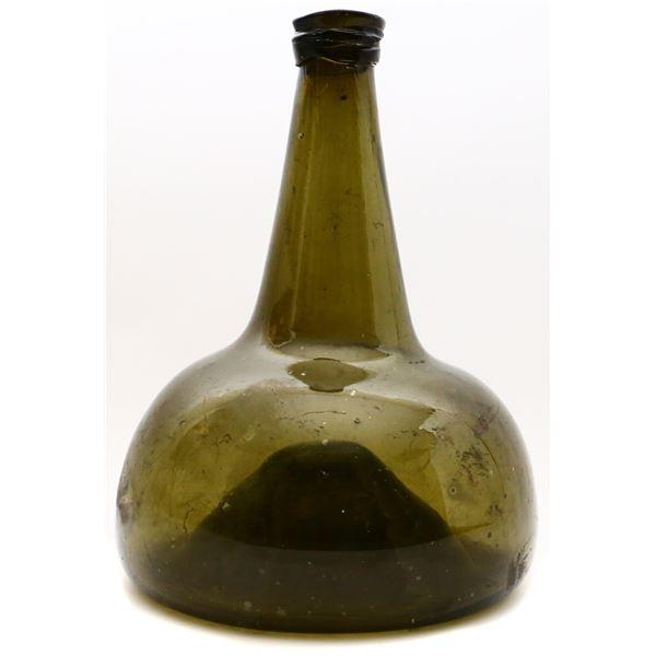 """Dutch glass """"onion"""" bottle, early 1700s."""