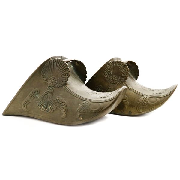 Pair of Spanish brass covered stirrups (estribos), late 1700s-early 1800s.