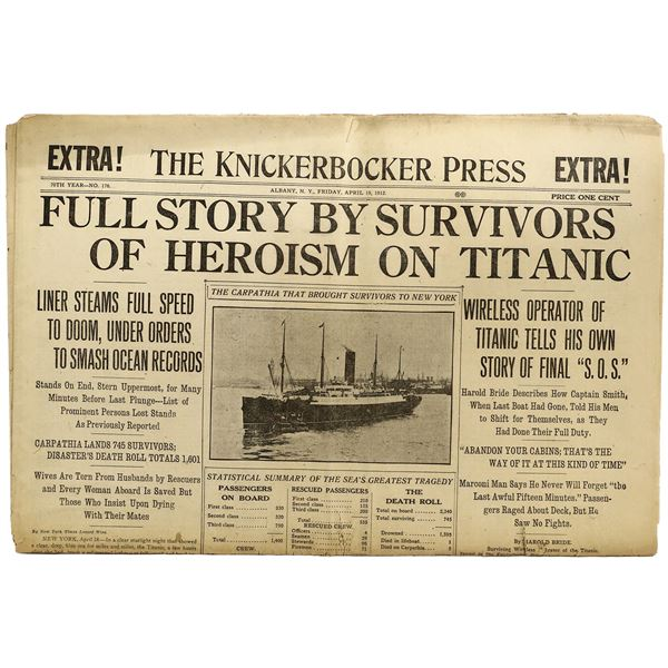 The Knickerbocker Press, Albany, New York, special edition newspaper of the account of the Titanic s