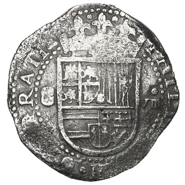 Seville, Spain, cob 8 reales, Philip II, assayer Gothic D outside tressure around 4 o'clock.