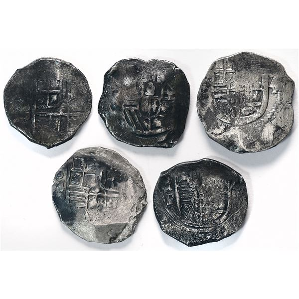 Lot of five Mexico City, Mexico, cob 4 reales, Philip IV, assayer D or P (where visible).