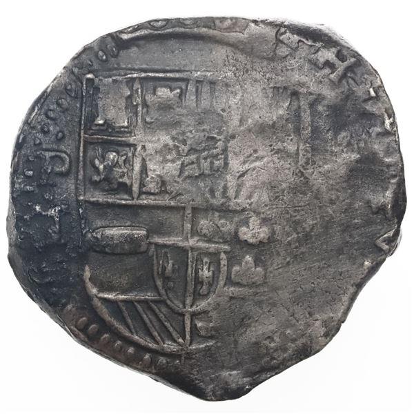 Potosi, Bolivia, cob 8 reales, Philip IV, assayer T (1630s).